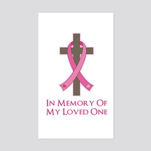 In Memory Cross Sticker (Rectangle)
