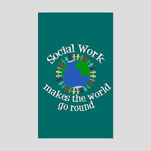 Social Work World Sticker (Rectangle)
