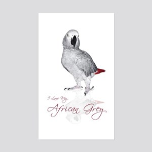 i love my african grey Sticker (Rectangular)