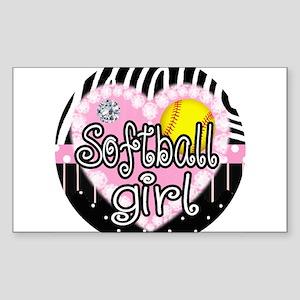 Softball Girl Sticker (Rectangle)