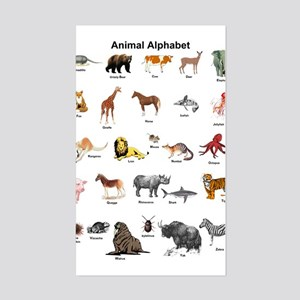 Animal pictures alphabet Sticker (Rectangle)