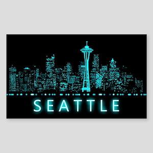 Digital Cityscape: Seattle, Wa Sticker (Rectangle)