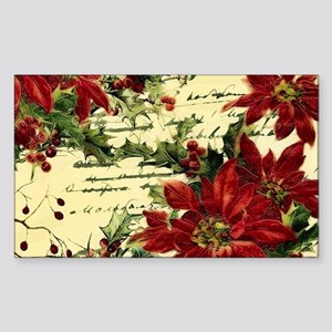 Vintage poinsettia and holly Sticker
