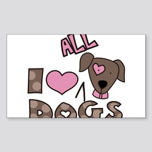 I Love All Dogs Sticker (Rectangle)