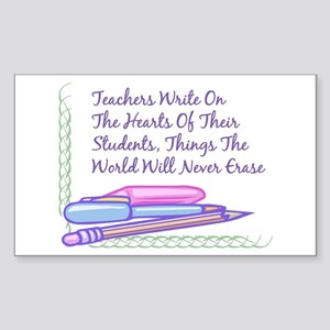Teachers Write On The Hearts. Sticker (Rectangular