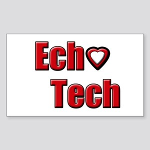 Ech(Heart) Red White Sticker (Rectangle)