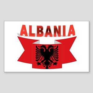 flag Albania Ribbon Rectangle Sticker