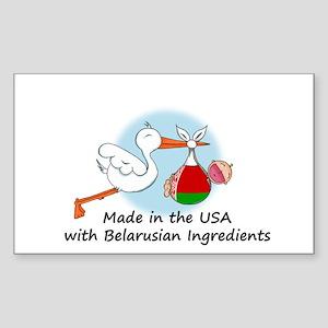 Stork Baby Belarus USA Sticker (Rectangle)