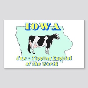 Iowa Cow Tipping Rectangle Sticker