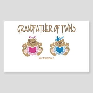 Grandfather Of Twins- Boy/Girl Sticker (Rectangula