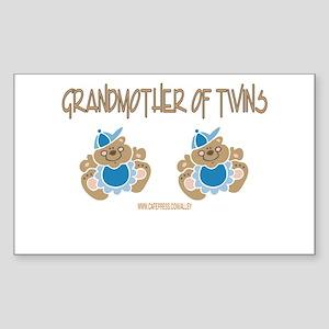 Grandmother Of Twins (2 Boys) Sticker (Rectangular