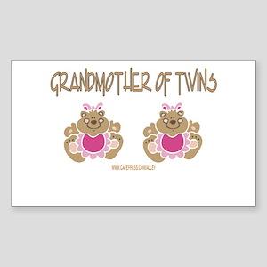 Grabdmother Of Twins (2 Girls) Sticker (Rectangula