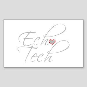 Cursive Ech(Heart) Gray Sticker (Rectangle)