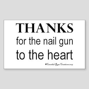 Nail Gun Heart Rectangle Sticker
