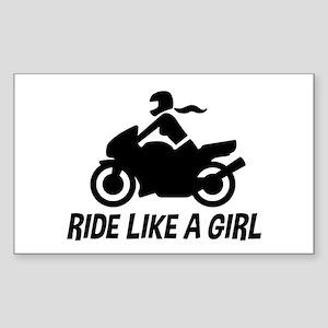 Ride Like A Girl Sticker (Rectangle)