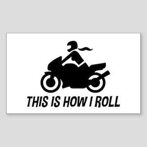 Female Motorcyclist Sticker (Rectangle)