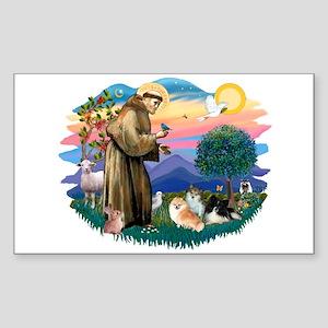 St Francis #2/Pomeranians(3) Sticker (Rectangle)