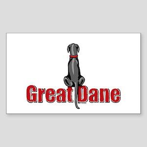 Black Great Dane UC Sit Rectangle Sticker