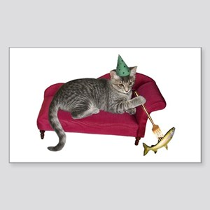 Cat on Couch Sticker (Rectangle)