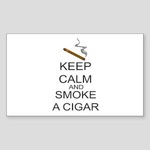 Keep Calm And Smoke A Cigar Sticker (Rectangle)