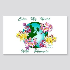 Plumeria World Rectangle Sticker