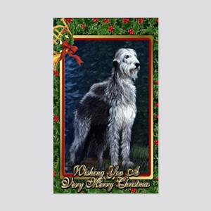 Irish Wolfhound Dog Christmas Sticker (Rectangle)