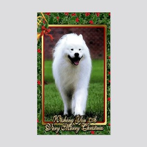 Samoyed Dog Christmas Sticker (Rectangle)