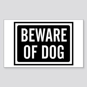 Beware Dog Sticker (Rectangle)