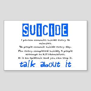 Suicide Statistics Rectangle Sticker