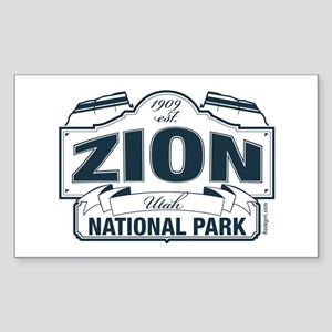 Zion National Park Blue Sign Sticker (Rectangle)