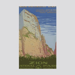 Zion National Park Vintage Pos Sticker (Rectangle)