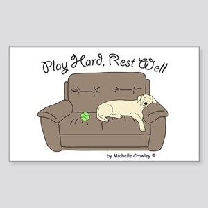 Yellow Lab - Play Hard Sticker (Rectangle)
