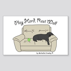 Black Lab - Play Hard Sticker (Rectangle)