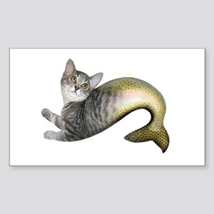 Kitten Fish Sticker (Rectangle)