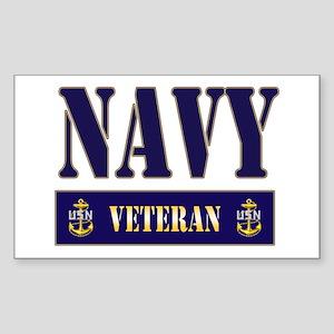 Navy Veteran Block Rectangle Sticker