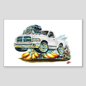 Dodge Ram White Truck Rectangle Sticker
