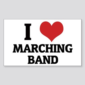 I Love Marching Band Rectangle Sticker