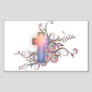 Circles N Swirls Cross Sticker (Rectangle)