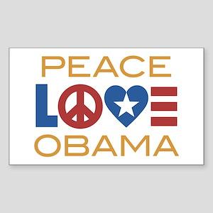 Peace, Love, Obama Sticker (Rectangle)