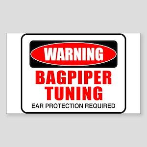 Warning Bagpiper Tuning Rectangle Sticker