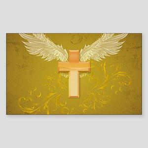 Angel Wings Cross Sticker (Rectangle)