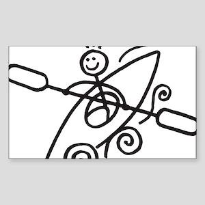 happy kayak black Sticker (Rectangle)