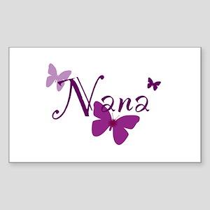 Nana Butterflys Sticker (Rectangle)