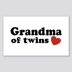 Grandma of Twins Rectangle Sticker