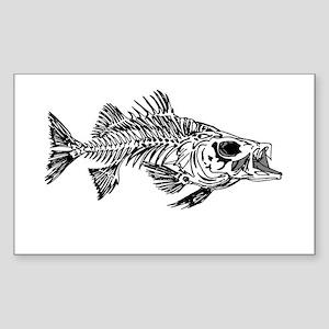 Striped Bass Skeleton Sticker (Rectangle)