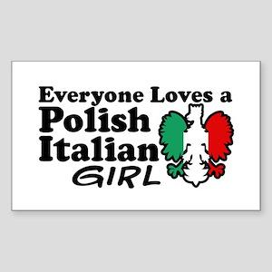 Polish Italian Girl Rectangle Sticker