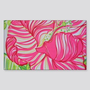 Pink Hibiscus in Lilly Pulitze Sticker (Rectangle)