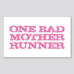 One Bad Mother Runner Pink Sticker (Rectangle)