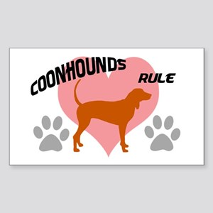 coonhounds rule w/ heart Rectangle Sticker