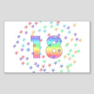 18th Birthday Pastel Stars Rectangle Sticker
